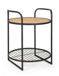 Runder Tisch Elyot | Schwarz und Ratan
