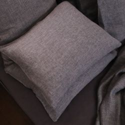 Stone Washed Herringbone Pillow Case | Grey