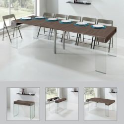 City Table avec 5 Extensions  | Noyer, Noyer & Verre