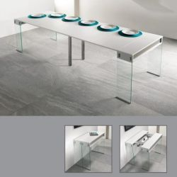 City Table avec 5 Extensions  | Blanc, Gris Beige & Verre