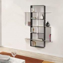 Mondrian Bookcase COMP4 | Sandblasted Ardesia (22) & Sandblasted White (25)