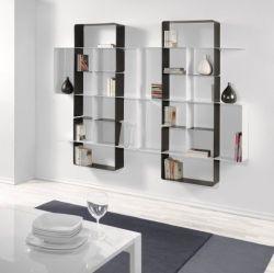 Mondrian Bookcase COMP7 | Sandblasted Ardesia (22) & Sandblasted White (25)