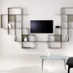 Mondrian Bookcase COMP9 | Sandblasted Dove Grey (22) & Sandblasted Dove Grey (25)