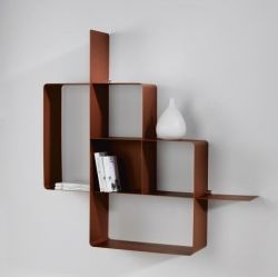 Mondrian Bookcase | Sandblasted Copper (22) & Sandblasted Copper (25)