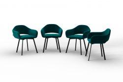 Set Of 4 Chairs Oldenburg | Blue Petrol-Velvet Touch