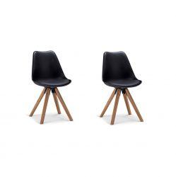 Satz mit 2 Stühlen Steve | Schwarz