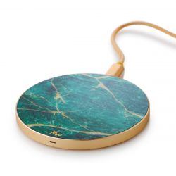 Wireless Charger | Green Marble / Gold