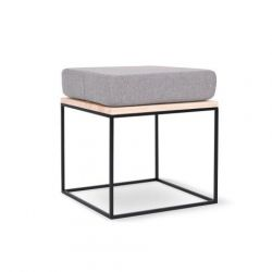 Feo Pouf | Light Grey - Black Frame