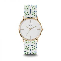 Frauen-Uhr Petal 34 | Weiß- und Grün Gold Vergoldet