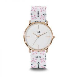 Frauen-Uhr Petal 34 | Weiß- und Rosé Vergoldet