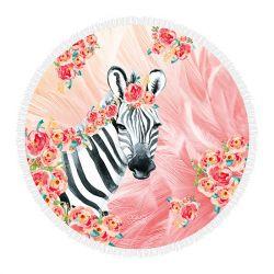 Roundie-Strandtuch Zebra Boho