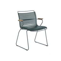 Outdoor Dining Chair with Armrest Click | Pine Green