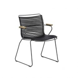 Outdoor Dining Chair with Armrest Click | Black