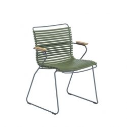 Outdoor Dining Chair with Armrest Click | Olive Green