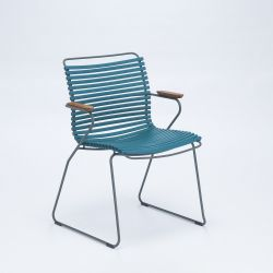 Outdoor Dining Chair with Armrest Click | Petrol