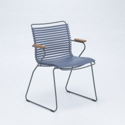 Outdoor Dining Chair with Armrest Click | Pigeon Blue