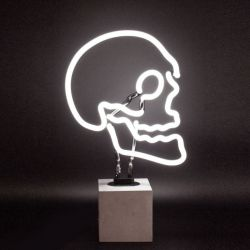Neon Light with Concrete Base | Skull