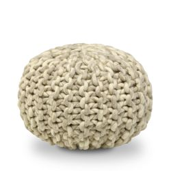 Wool Pouf | Beige