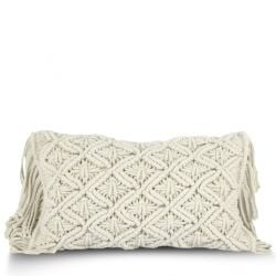 Cushion Cover 50 x 30 cm Macrame | Ecru
