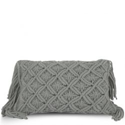 Cushion Cover 50 x 30 cm Macrame | Dark Grey