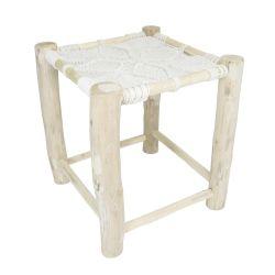 Star Macrame Stool | Ecru