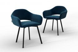 Set Of 2 Chairs Oldenburg | Navy Blue -Velvet Touch