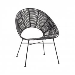 Chair Round Rattan | Black