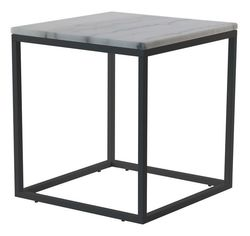 Akzenttisch Quadratisch 50 cm | Weißer Marmor & Stahlrahmen