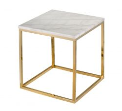 Table de Salon Accent Marbre Carré 50 Shiny | Or