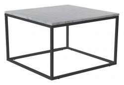 Akzenttisch quadratisch 75 cm | Weißer Marmor & Stahlrahmen