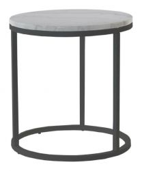 Accent Table Round Ø 50 cm | White Marble & Steel Frame