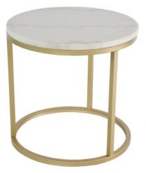 Table d'Appoint Rond Accent | Or & Marbre Blanc