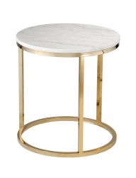 Table d'Appoint Accent Black Crystall | Blanc & Or Brillant