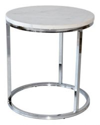 Table d'Appoint Rond Accent | Chrome & Marbre Blanc
