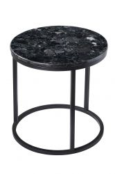 Round Side Table Accent Black Crystall | Black