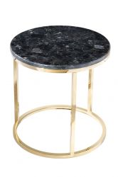 Round Side Table Accent Black Crystall | Black & Gold
