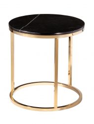 Round Side Table Accent Black Crystall | Black & Shiny Gold