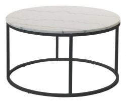 Table de Salon Accent Ronde Ø 85 cm | Mabre Clair & Acier