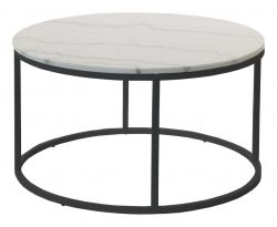 Accent Table Round Ø 85 cm | White Marble & Steel Frame