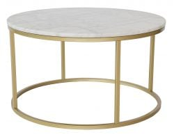 Table de Salon Accent Ronde Ø 85 cm | Marbre Clair & Acier Laiton