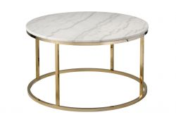 Table Coffee Rond Accent | Or Brillant & Marbre Blanc