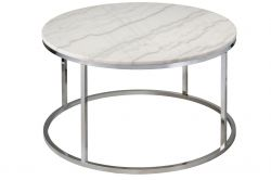 Table Coffee Rond Accent | Chromé & Marbre Gris Clair