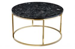 Coffee Table Round Accent Black Crystall | Black & Gold