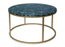 Table Coffee Rond Accent | Or & Marbre Vert