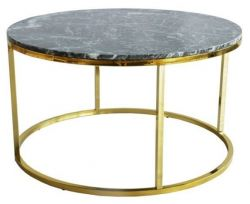 Table Coffee Rond Accent | Brillant Doré & Marbre Vert