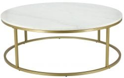 Coffee Table Accent Ø 110 cm | White Marble & Brass Steel Frame