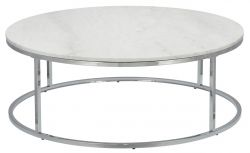 Coffee Table Accent Ø 110 cm | White Marble & Grey Steel Frame