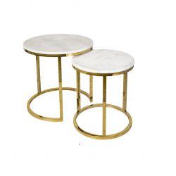 Tables en Marbre Blanc Nest | Lot de deux | Or