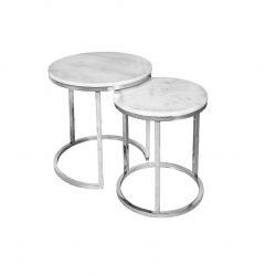Tables en Marbre Blanc Nest | Lot de deux | Argent
