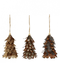 Christmas Tree Decoration Feathers Natural | Set of 12